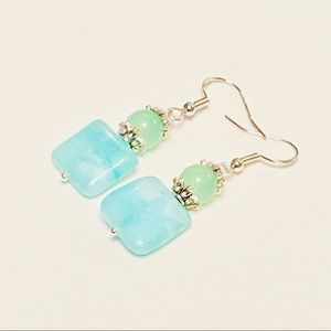 CALMING Aventurine & Aqua Agate Stone Earrings